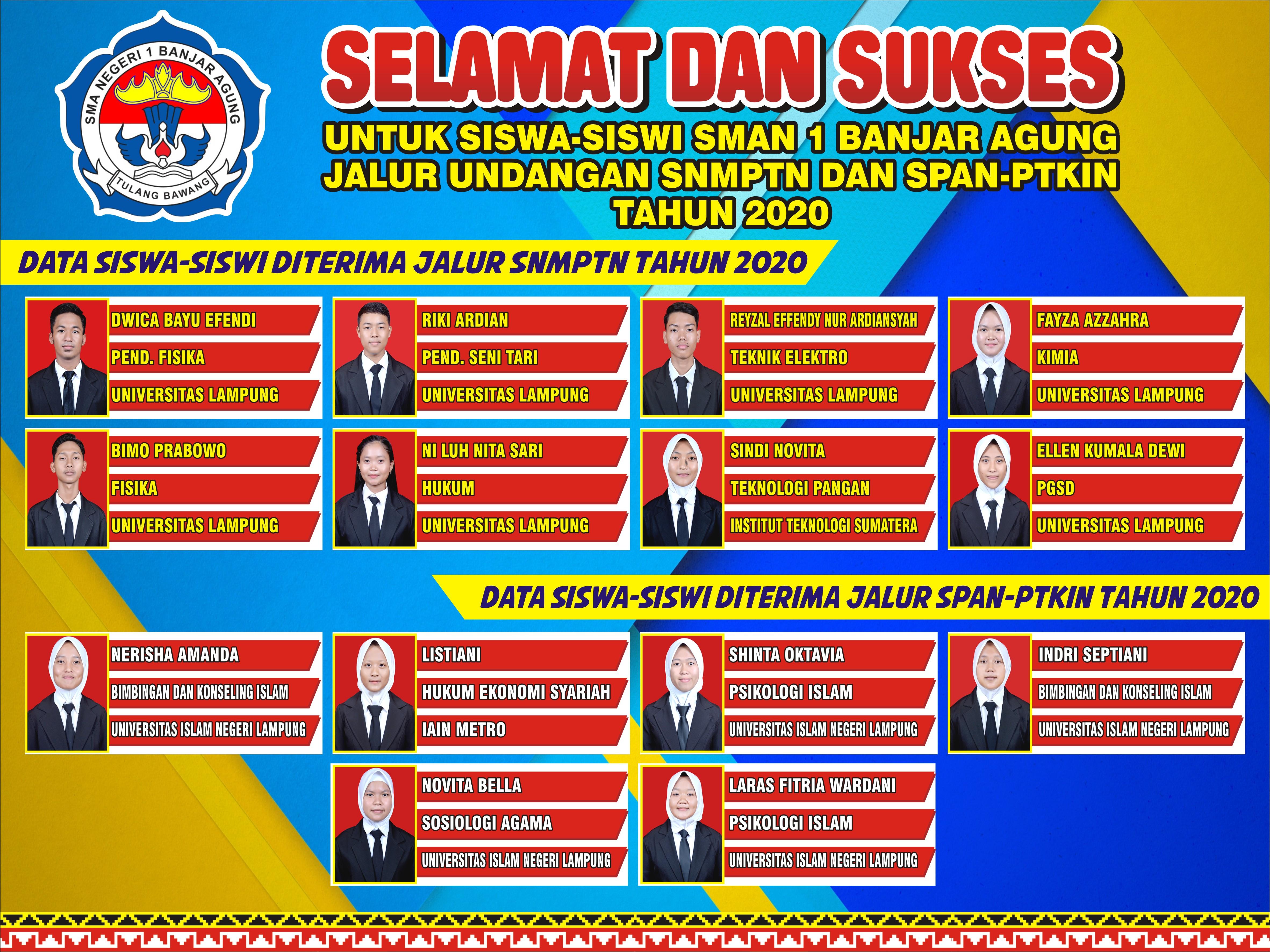 Selamat dan Sukses Siswa Siswi SMAN 1 Banjar Agung yang lulus seleksi jalur undangan SNMPTN dan SPAN-PTKIN Tahun 2020
